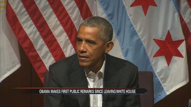 Obama talks leadership at first event since leaving office