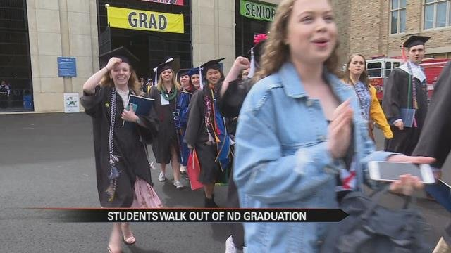 Notre Dame students stage walkout protest of VP Pence
